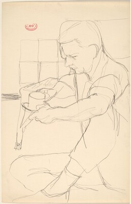 Untitled [seated man holding a cup and saucer]