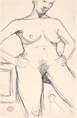 Untitled [head-to-knee view of a nude with her arms akimbo]