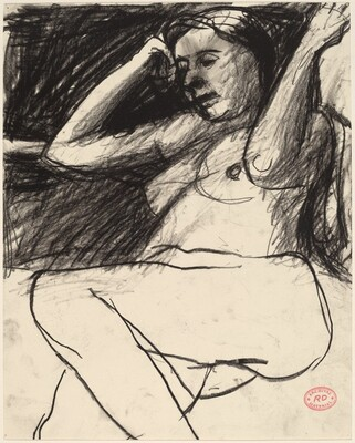 Untitled [seated nude with her forearms raised]