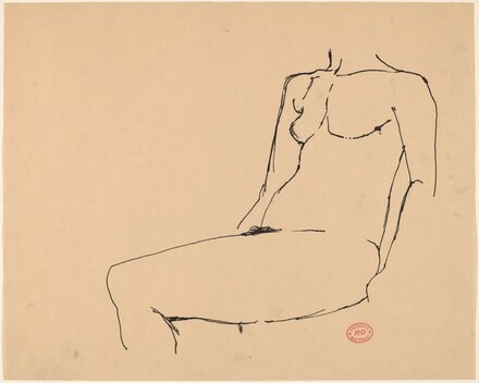 Untitled [torso and leg of a seated female nude]