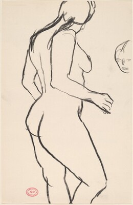 Untitled [standing female nude and a detail of a head]