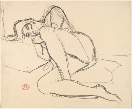 Untitled [reclining female nude leaning into a pillow]