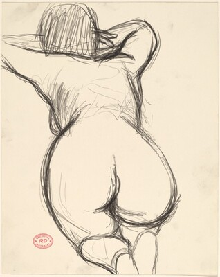 Untitled [view of back and buttocks of a kneeling female nude]
