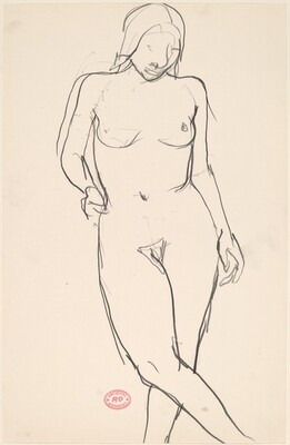 Untitled [standing female nude with crossed legs]