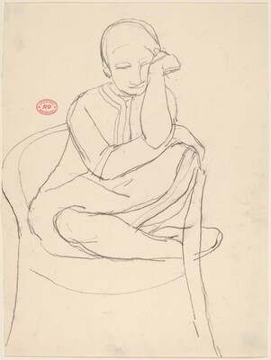 Untitled [seated woman with legs pulled into a chair]