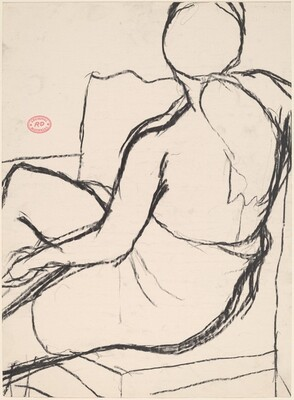 Untitled [seated woman with a ponytail turning away]
