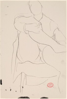 Untitled [figure seated in chair with leg crossed]