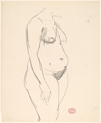 Untitled [standing female nude turned to the right]