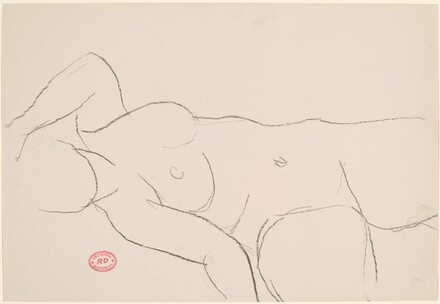 Untitled [reclining female nude with left arm above head]