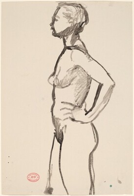 Untitled [standing female nude: side view]