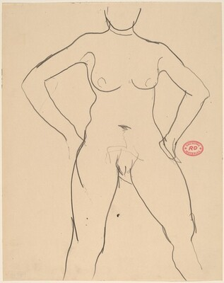 Untitled [front view of a female nude with arms akimbo]