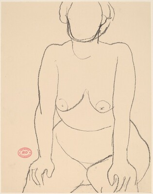 Untitled [seated nude leaning forward with her hands on her knees]
