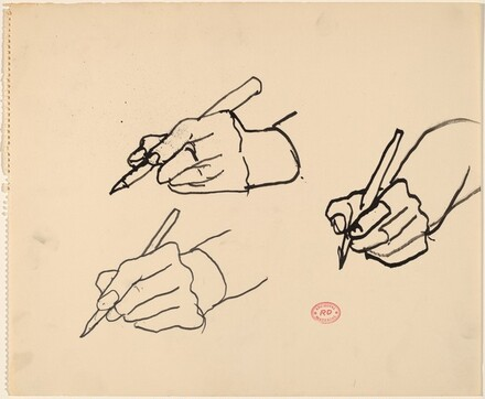 Untitled [three studies of a hand holding a writing tool]