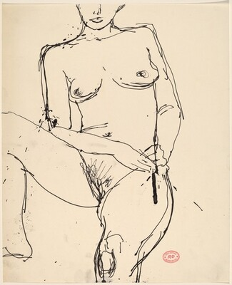 Untitled [female nude with hands on left hip]
