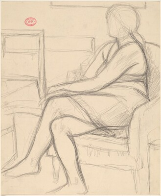 Untitled [female nude seated in the studio]