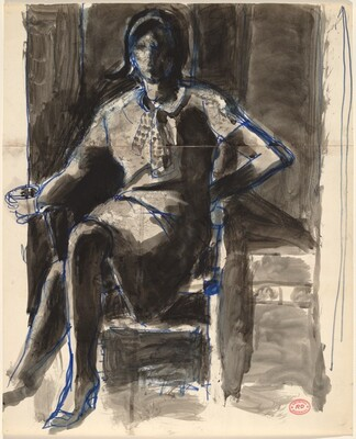 Untitled [seated woman holding a cup]