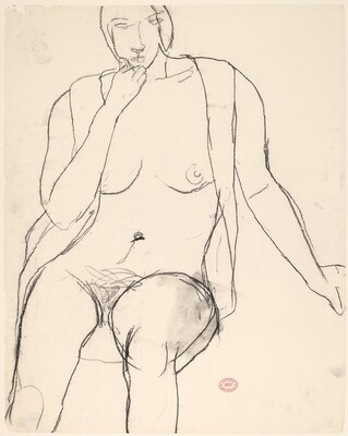 Untitled [seated female nude with open shirt]