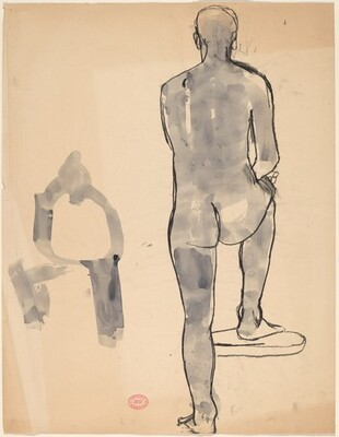 Untitled [back view of a male nude and a gesture study]