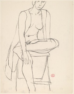 Untitled [seated nude with her shirt open crossing her leg]