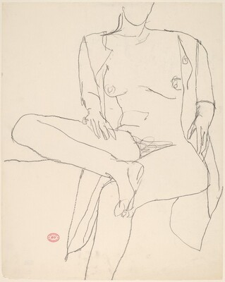 Untitled [seated nude with her shirt open and leg crossed]