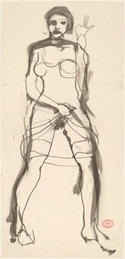 Untitled [woman raising her dress and gesturing] [recto]