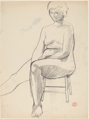 Untitled [female nude seated on a low stool]