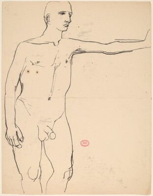 Untitled [nude extending his left arm]