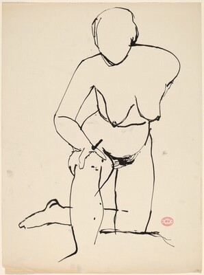 Untitled [nude resting on her knee and leaning forward]