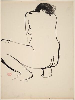 Untitled [squatting female nude turning away]