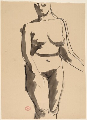 Untitled [front view of a standing female nude]