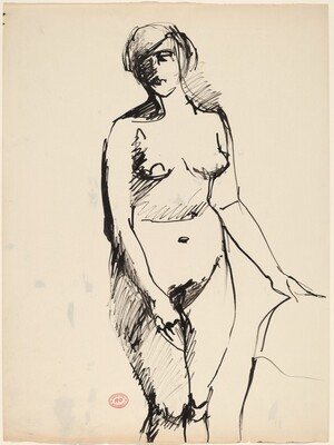 Untitled [standing nude with her her left hand on a support]