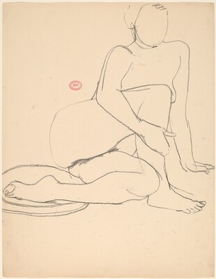 Untitled [nude seated on floor and holding her left leg]