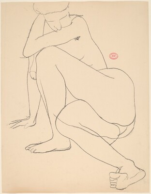 Untitled [female nude on the floor leaning on her right arm]