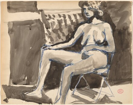 Untitled [female nude in a hat seated in a folding chair]