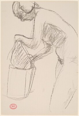 Untitled [female nude leaning over garment bag]