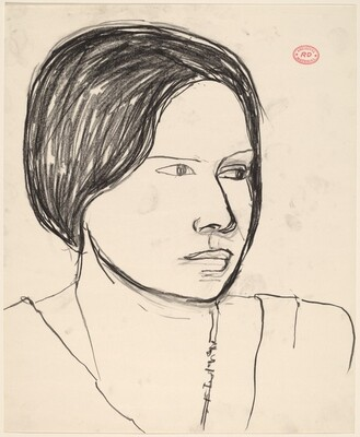 Untitled [head of a woman looking left]