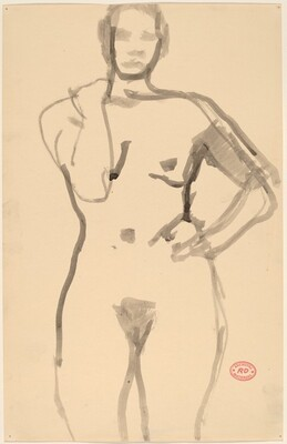 Untitled [standing female nude grasping her shoulder with her right hand]