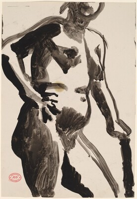 Untitled [female nude leaning on her left arm and holding her right arm akimbo]
