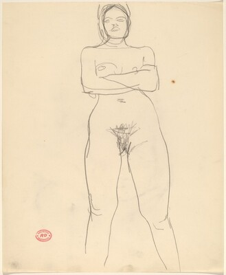 Untitled [standing female nude with arms crossed]