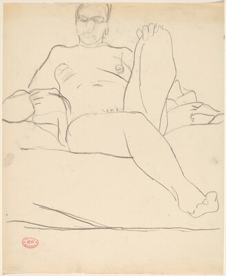 Untitled [seated female nude resting with left leg in chair]