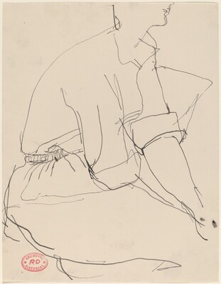 Untitled [seated woman in cuffed short sleeves]