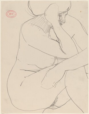 Untitled [seated female nude resting her arms on her knee]
