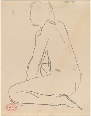 Untitled [side view of kneeling female nude]