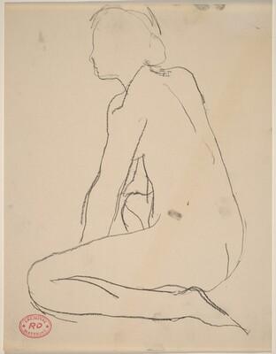 Untitled [side view of kneeling female nude]