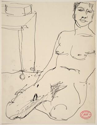 Untitled [female nude seated on floor near a table]