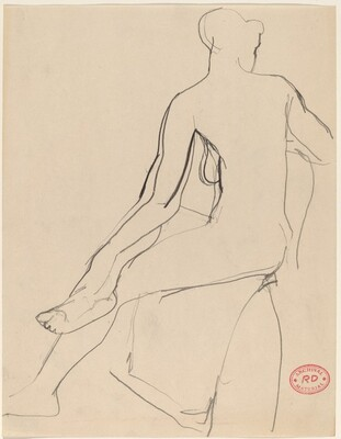 Untitled [back view of seated female nude with leg crossed]
