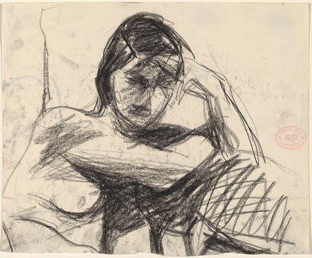 Untitled [nude resting her arms on a cushion]