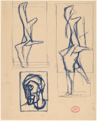 Untitled [cubist head study with two studies of abstract forms]