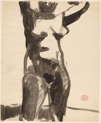 Untitled [standing nude with her arms raised]