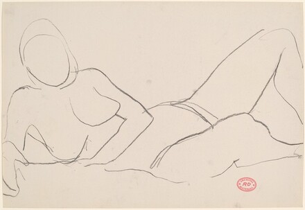 Untitled [reclining nude leaning on right arm]